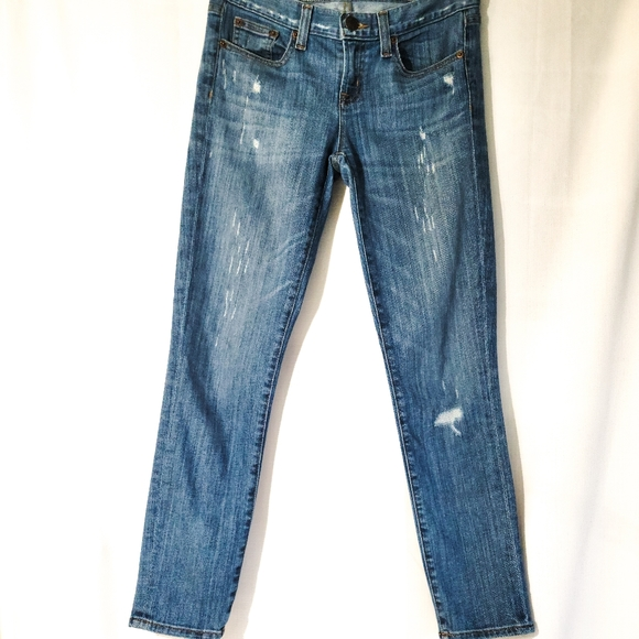J. Crew Toothpick Ankle Skinny Distressed Jeans